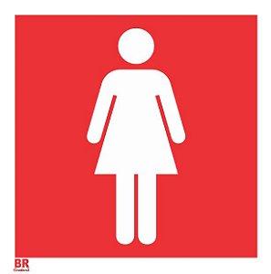 Placa Branca Banheiro Wc Feminino 20X20cm