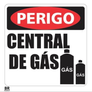 Placa Branca Central de Gás 20X20cm