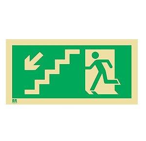 Placa Saída de Emergência Desce Escada Esquerda S9 12X24cm Fotoluminescente