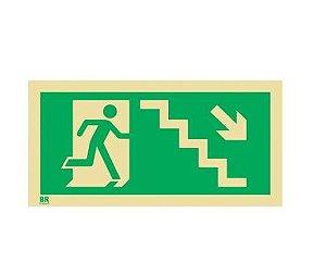 Placa Saída de Emergência Desce Escada Direita S8 12X24cm Fotoluminescente