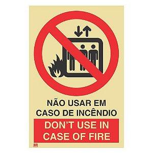 Placa Não Usar em Caso de Incêndio (Elevador) 15X20cm Fotoluminescente