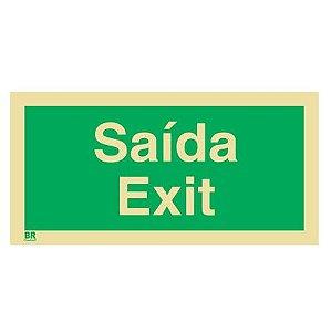 Placa Saída Exit 12x24cm Fotoluminescente