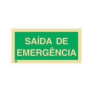 Placa Saída de Emergência 12X24cm Fotoluminescente
