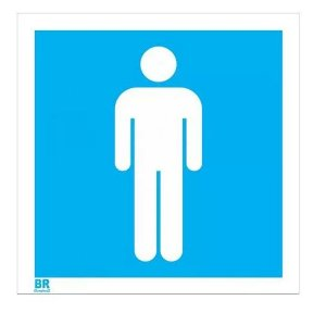 Placa Branca Banheiro WC Masculino 20x20cm