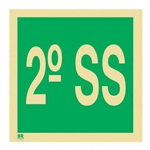 Placa 2º Subsolo S17 15X15cm Fotoluminescente