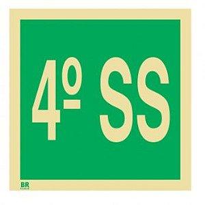 Placa 4º Subsolo S17 15x15cm Fotoluminescente