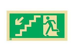 Placa Saída de Emergência Desce Escada Direita S8 20x40cm Fotoluminescente