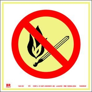 Placa Proibido Produzir Chama P2 20X20cm Fotoluminescente