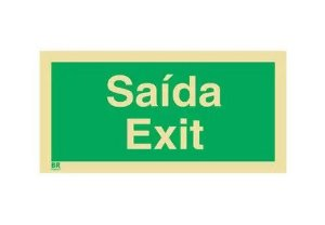 Placa Saída Exit 20x40cm Fotoluminescente