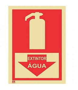 Placa Extintor Água Seta 15X20cm Fotoluminescente