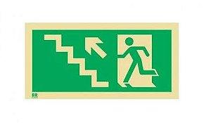 Placa Saída de Emergência Sobe Escada Esquerda S10 20x40cm Fotoluminescente