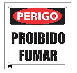 Placa Branca Sinalização Proibido Fumar Símbolo 20x20cm
