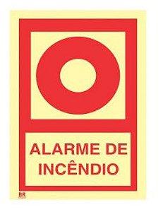Placa Alarme de Incêndio E2 30x40cm Fotoluminescente