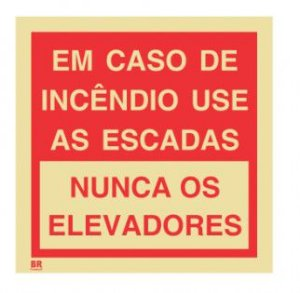 Placa Em Caso de Incêndio Use as Escadas 15x15cm Fotoluminescente