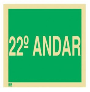 Placa 22º Andar S17 15x15cm Fotoluminescente