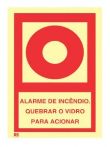 Placa Alarme de Incêndio 20x20cm Fotoluminescente