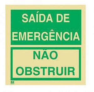 Placa Saída de Emergência Não Obstruir 20x20mm Fotoluminescente