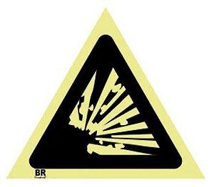 Placa Risco de Explosão A3 20x20cm Fotoluminescente