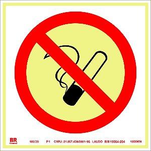 Placa Proibido Fumar P1 20x20cm Fotoluminescente