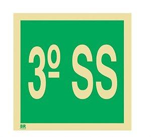 Placa 3º Subsolo S17 15X15cm Fotoluminescente