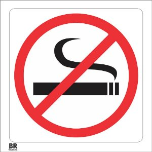 Placa Branca Proibido Fumar 20X20Cm