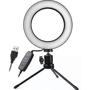 RING LIGHT COM MINI TRIPÉ USB