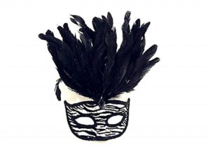 Mascara Animal Print Penas Preta