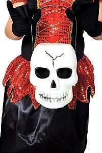 Balde Caveira Halloween - com Luz que Pisca