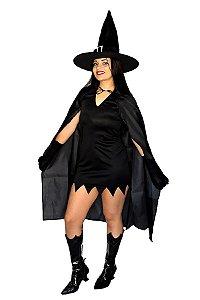 Kit Halloween Capa Longa, Chapéu Feltro e Luvas