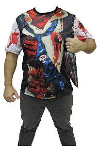Kit Halloween Camiseta Zumbi E Faca Brinquedo