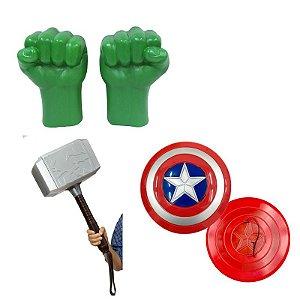Kit Vingadores Luvas Hulk Martelo Thor Escudo Capitão Americ