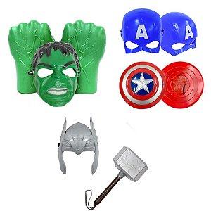 Kit Luvas Hulk Martelo Thor Escudo Capitão America E Mascara