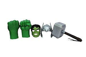 Kit Vingadores Luvas Hulk Martelo Thor Ultimato + 2 Mascaras