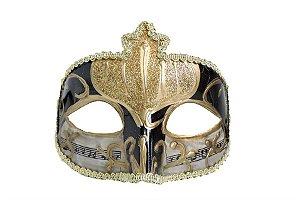 Mascara Veneza Notas Musicais Preta