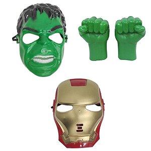 Avengers Mascara Homem De Ferro E Hulk Com Luvas Kit 3 Pçs