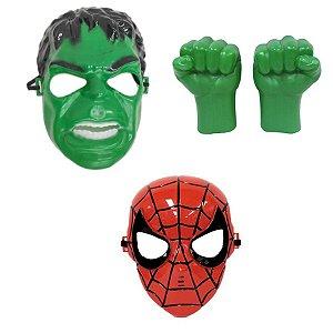 Avengers Mascara Homem Aranha E Hulk Com Luvas Kit 3 Peças