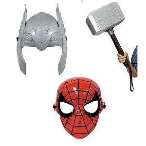 Vingadores Mascara Homem Aranha E Thor Com Martelo Kit 3 Pçs