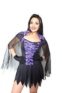 Fantasia Bruxa Morcego Com Capa Adulto ( Kit 3 Peças )
