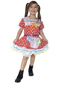 Vestido Festa Junina Infantil Junino Vermelho
