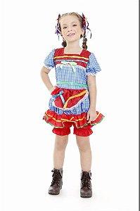 Vestido Junino Infantil Azul Com Vermelho