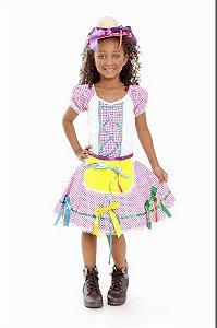 Vestido Festa Junina Florista Infantil Rosa