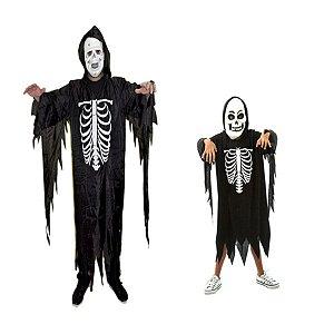 Fantasia Caveira Esqueleto Pai e Filho