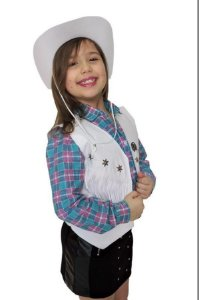 Colete Cowboy Cowgirl Country Infantil Branco