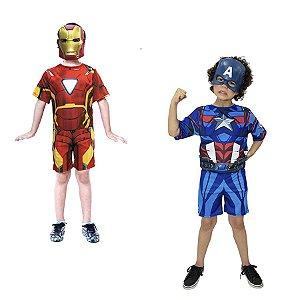 Fantasia Capitão America e Homem de Ferro Vingadores Avengers