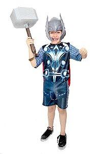 Fantasia Thor Ragnarok Infantil com Martelo Vingadores Avengers