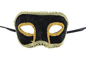 Mascara Carnaval Veludo Preta