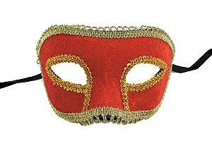 Mascara Carnaval Veludo Vermelha