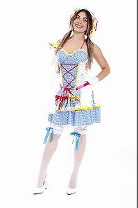 Vestido Noiva Caipira Azul Adulto