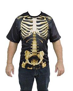 Camiseta Esqueleto Caveira Halloween Adulto