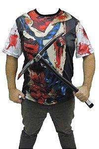 Kit Halloween Camiseta Zumbi E Foice Brinquedo